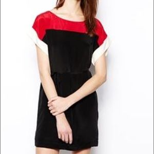 French Connection Silk Color block dress